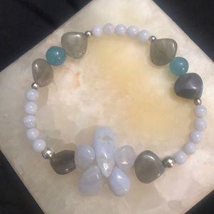 Labradorite, Blue Lace Agate, & Angelite Bracelet